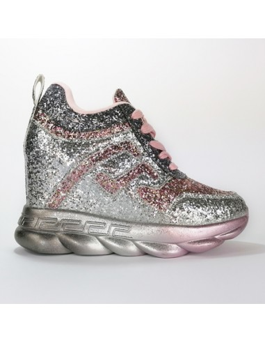 Sneakers con zeppa interna glitter...