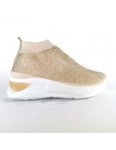 Sneakers street beige in tessuto con...