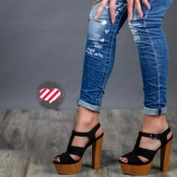 Sandalo tacco legno nero