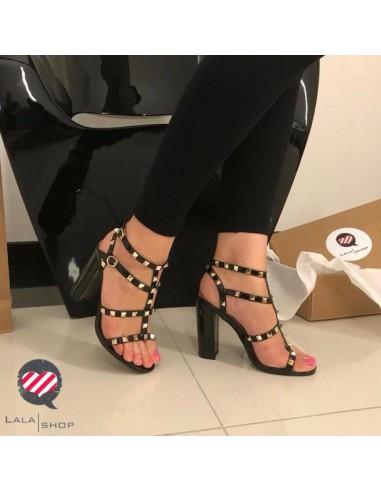 Sandalo tacco grosso 10 cm nero