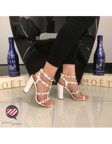 Sandalo tacco grosso 10 cm bianco
